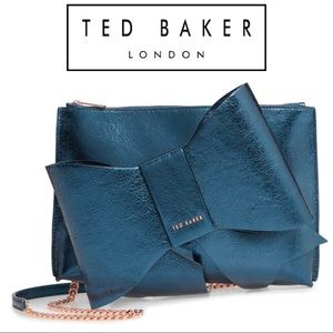 NWT Ted Baker Aliysa Crackle Bow Leather Clutch